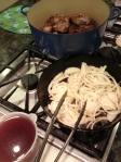 rabbit, onions, marinade then bake