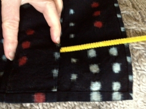 front panel, deep seam allowance